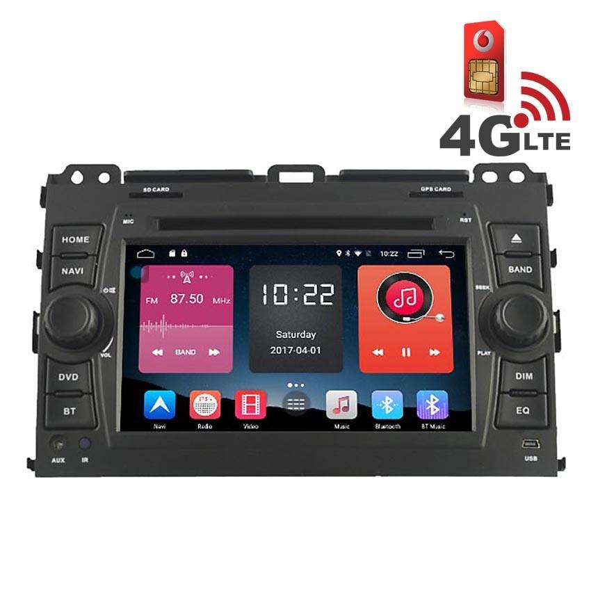 Навигация / Мултимедия с Android 6.0 и 4G/LTE за Toyota Land Cruiser 120 Prado DD-K7129