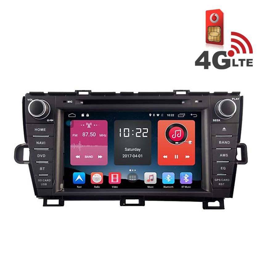 Навигация / Мултимедия с Android 6.0 или 10 и 4G/LTE за Toyota Prius DD-K7144