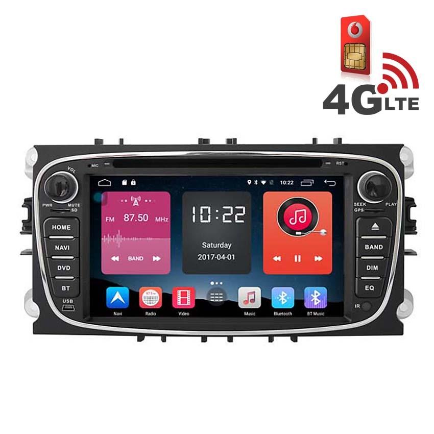 Навигация / Мултимедия с Android 6.0 и 4G/LTE за Ford Mondeo, Focus, S-Max  DD-K7457