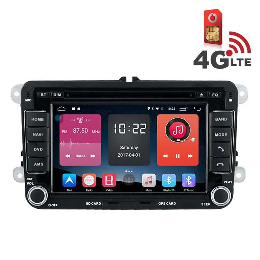 Навигация / Мултимедия с Android 6.0 и 4G/LTE за VW Golf, Passat, Tiguan, Touran, EOS, Caddy, Jetta и други DD-K7240
